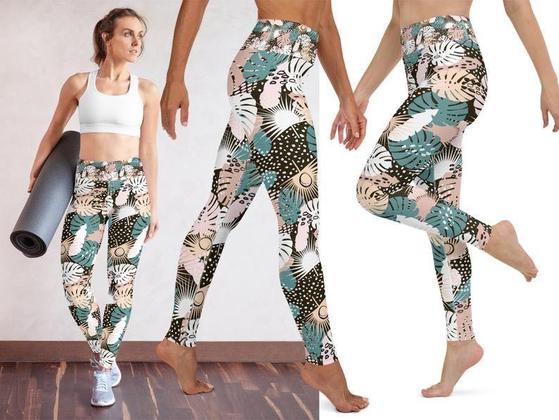 Women Floral Palm Tree Leaves Workout Pants