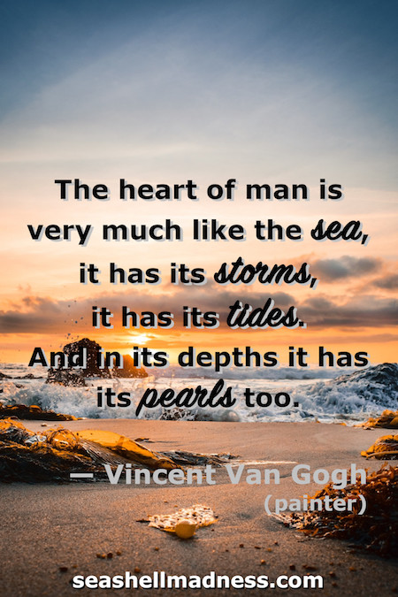 Vincent Van Gogh Beach Quote: The heart of man is very much like the sea, it has its storms, it has its tides, and in its depths it has its pearls too.