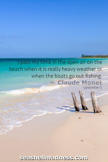Claude Monet Beach Quote: I pass my time in the open air on the beach when it is really heavy weather or when the boats go out fishing.