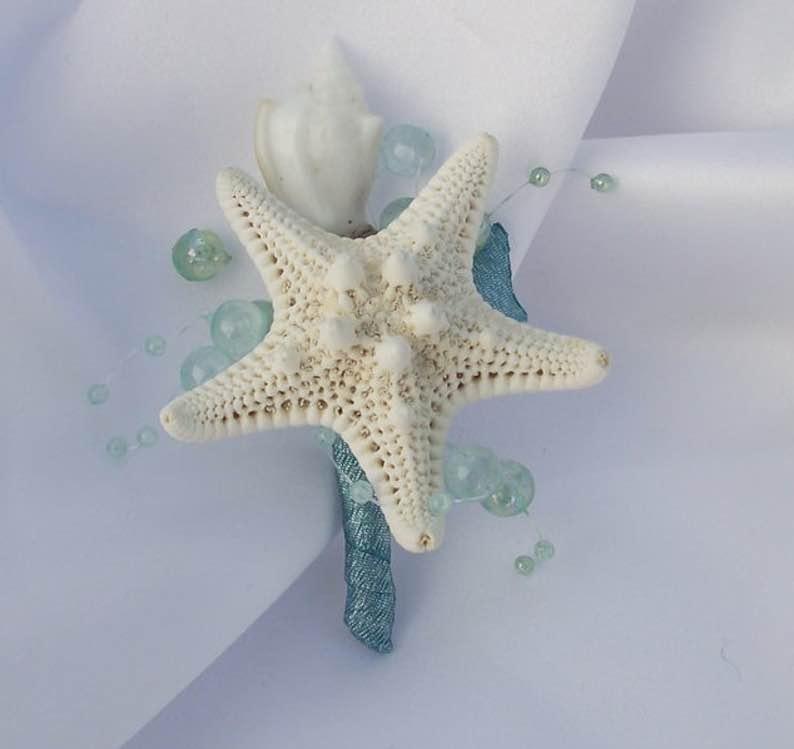 Aqua Blue Seashell Boutonniere