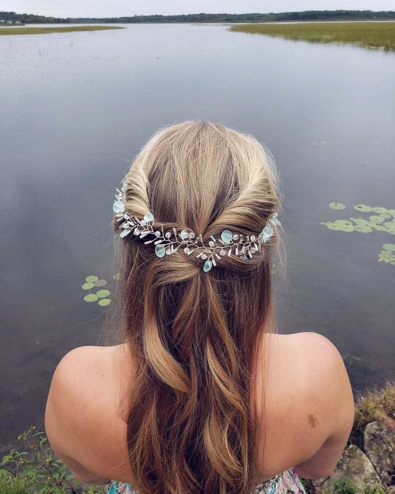 Silver and Blue Sea Glass Bridal Hair Vine