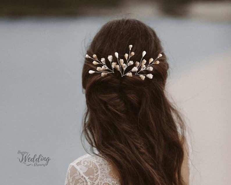 Beach Wedding Hair Pin with Natural Seashells