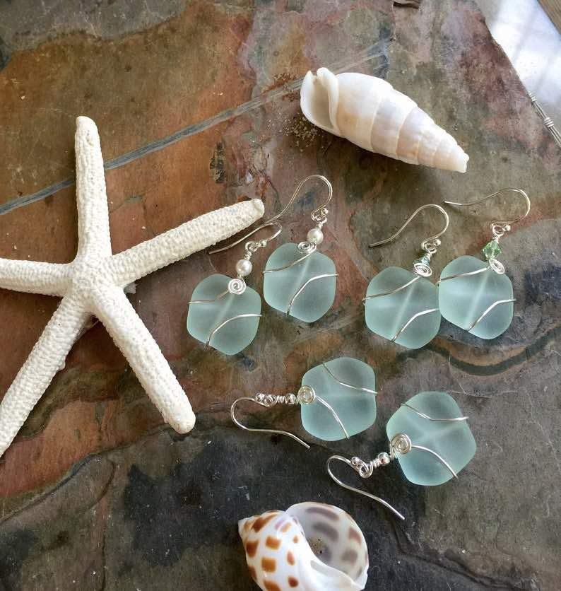 Seafoam Green Sea Glass Silver Earrings