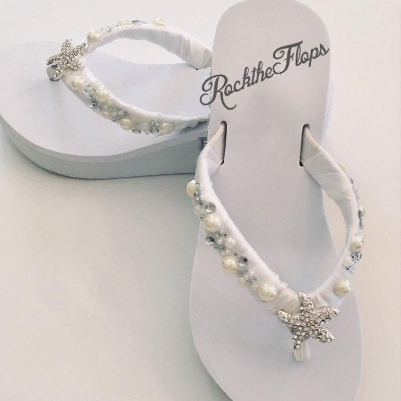 Pearl Rhinestone Bridal Flip Flops