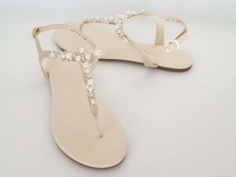 Crystal and Pearls Beach Wedding Sandals