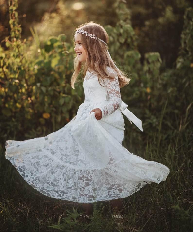 Bohemian Lace Junior Bridesmaid Dress