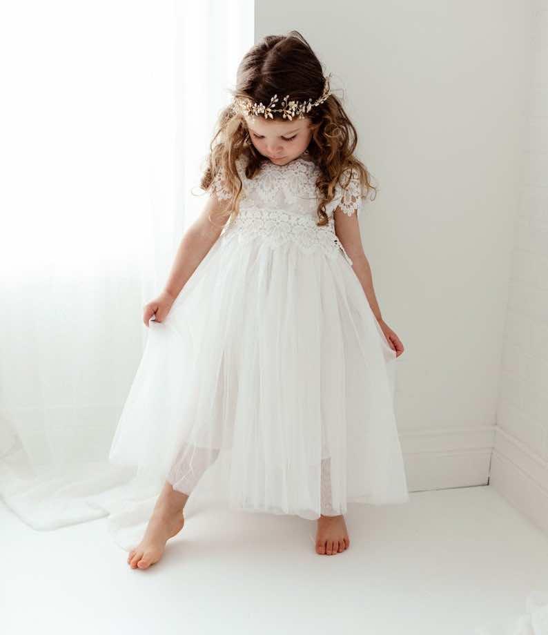 Long Sleeve Rustic Crochet Flower Girl Dress