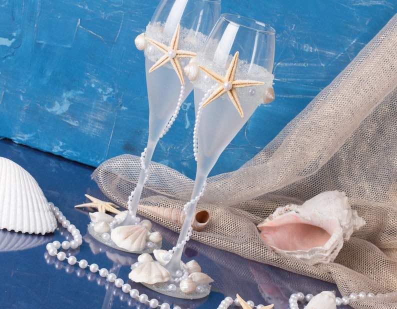 Seashell and Starfish Wedding Glasses