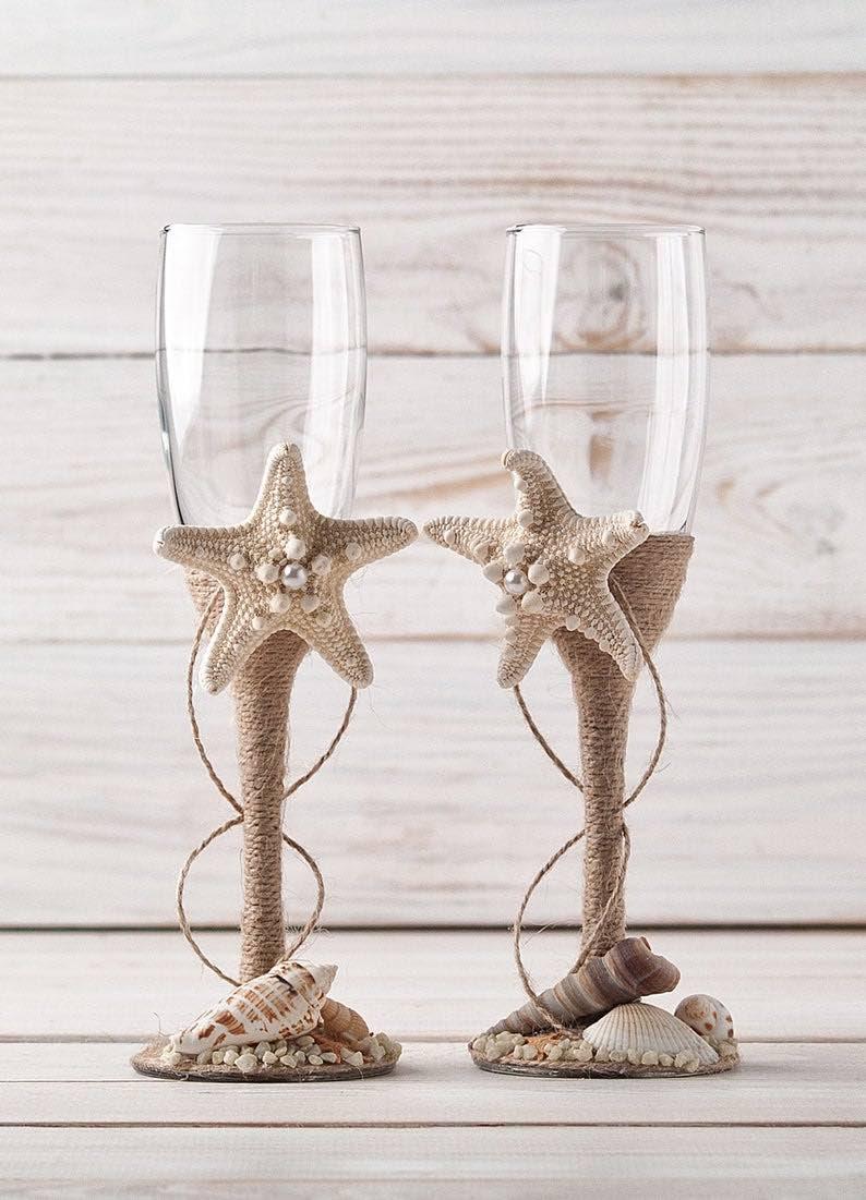 Nautical Wedding Toasting Flutes