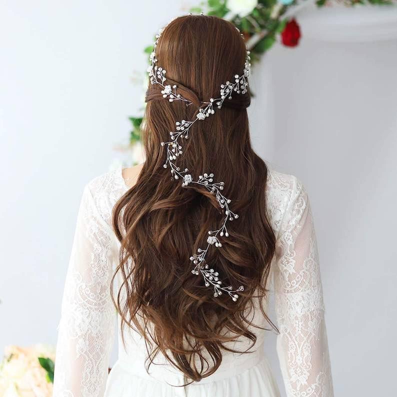 Long Bridal Hair Vine Headband
