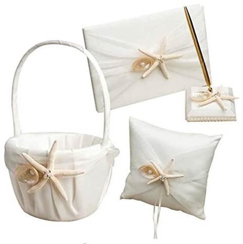 Starfish & Seashell Wedding Ring Pillow