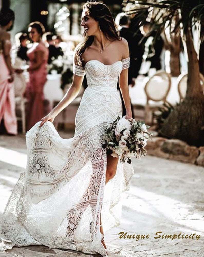 Sexy Boho White Lace Mermaid Wedding Dress