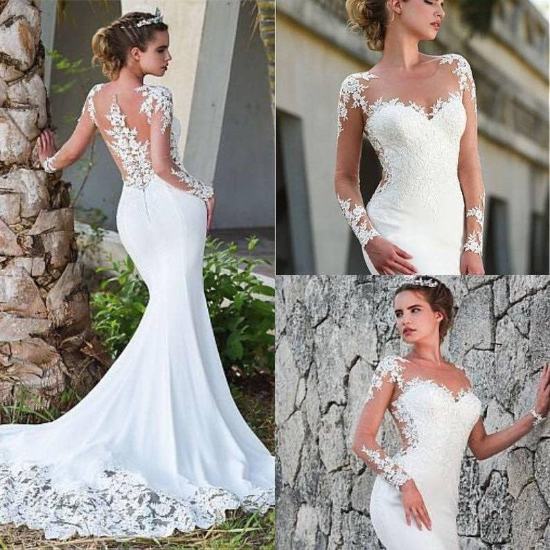 Sexy Sweetheart Neckline Illusion Mermaid Wedding Dress
