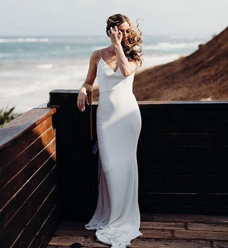 Mermaid Backless Spaghetti Strap Bridal Dress