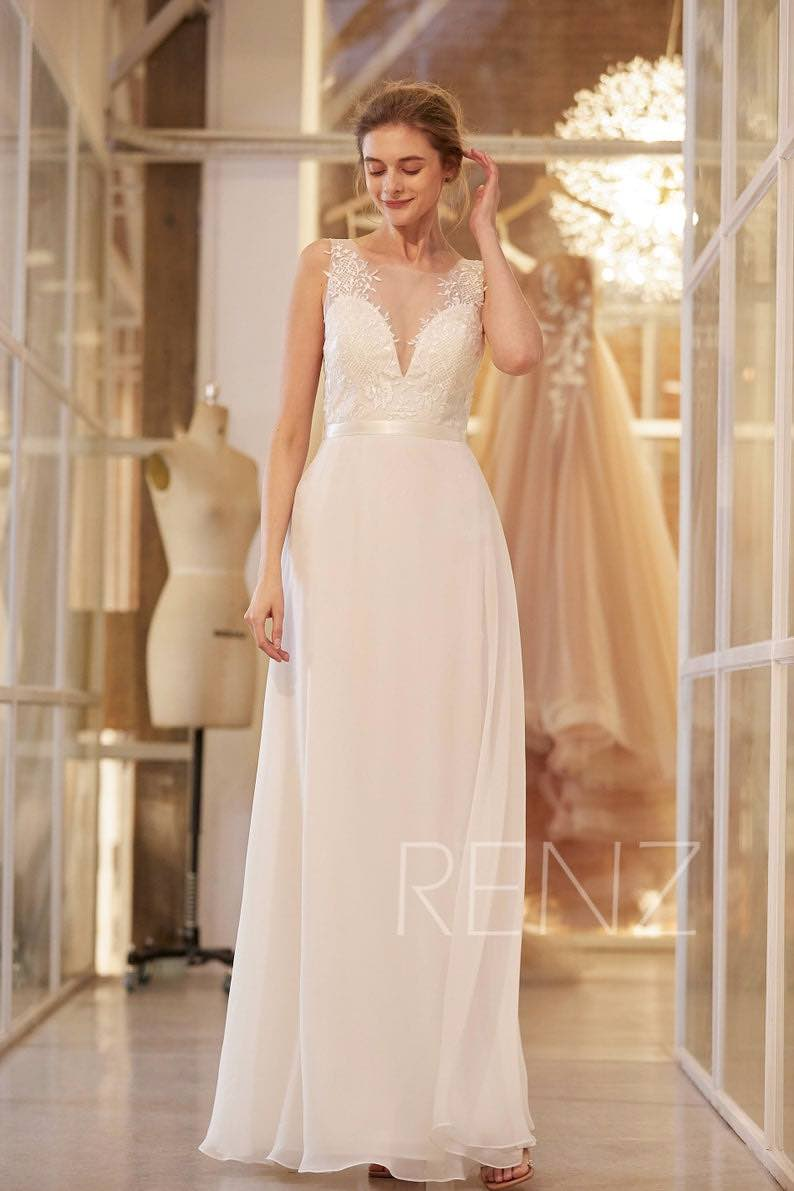 Boho Off White Chiffon Bridal Dress