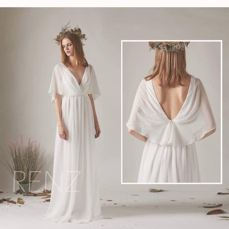 Dress White Chiffon Beach Wedding