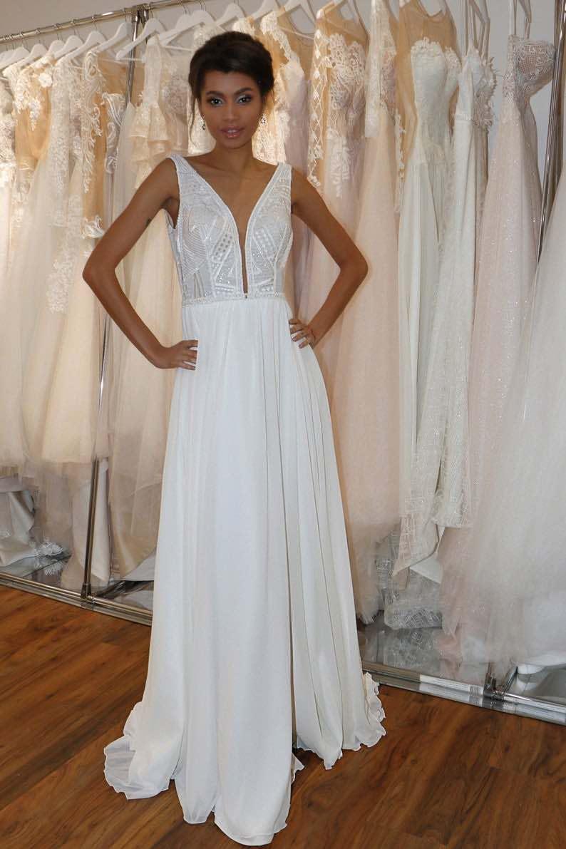 Deep Plunge Neckline Summer Wedding Dress