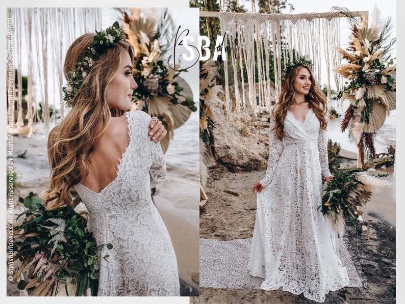 Lace Beach Boho Wedding Dress