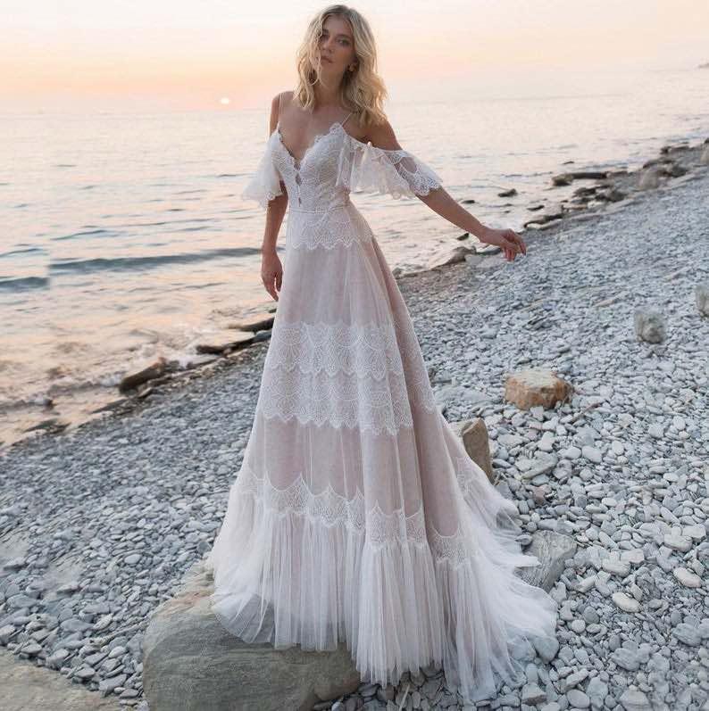 Spaghetti Strap Backless Lace Boho Wedding Dress