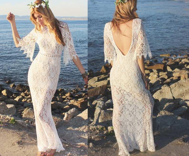 Boho Crochet Vintage Lace Wedding Dress