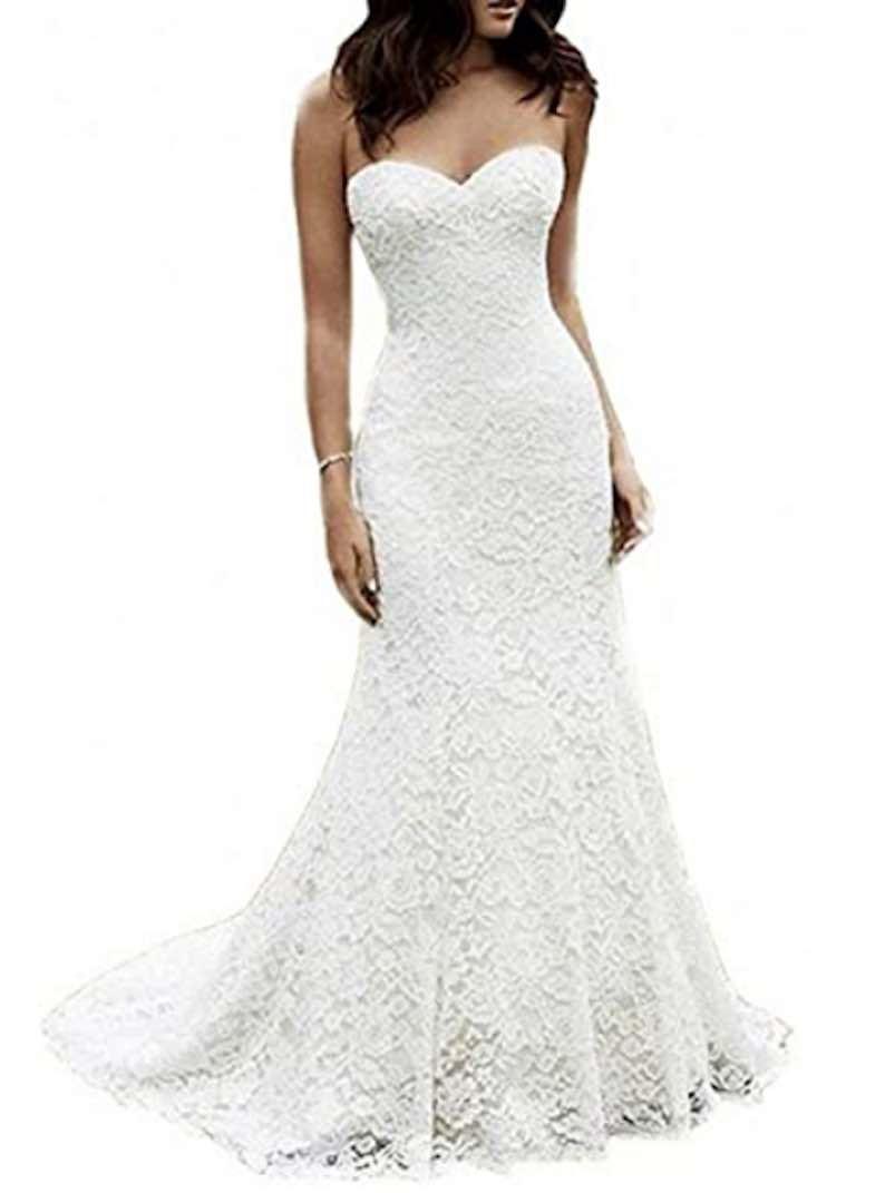 Mermaid Lace Beach Wedding Gown