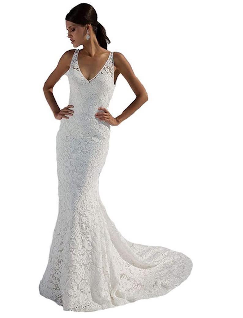 Double V-Neck Lace Beach Wedding Dress