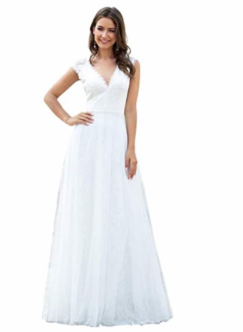 V-Neck Short Sleeve Wedding Dress
