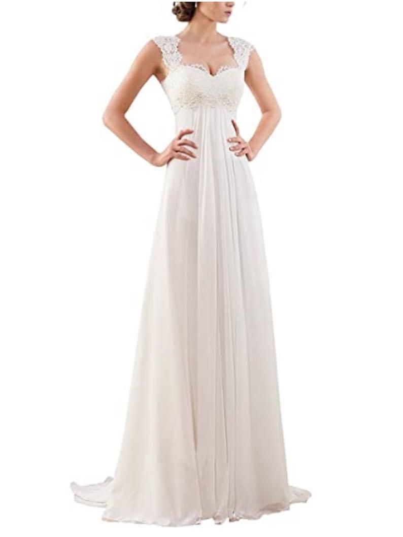 Sleeveless Lace Chiffon Evening Wedding Dress
