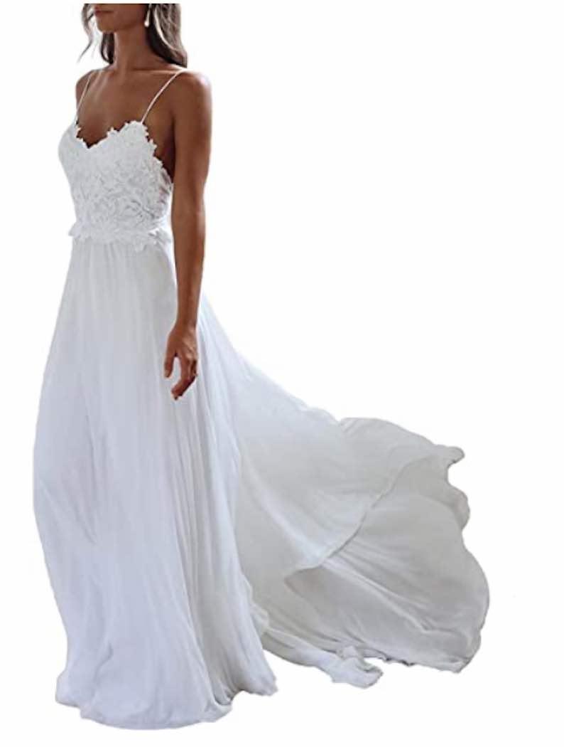 Backless Lace Bridal Gown Spaghetti Beach Wedding Dress