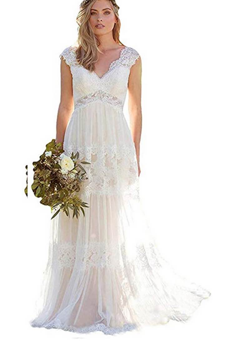 Bohemia Lace Chiffon Beach Wedding Dress