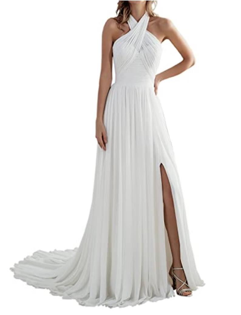 A Line Halter Open V Back Long Chiffon Beach Wedding Dress