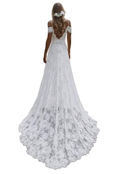 Spaghetti Backless Boho Bridal Gown