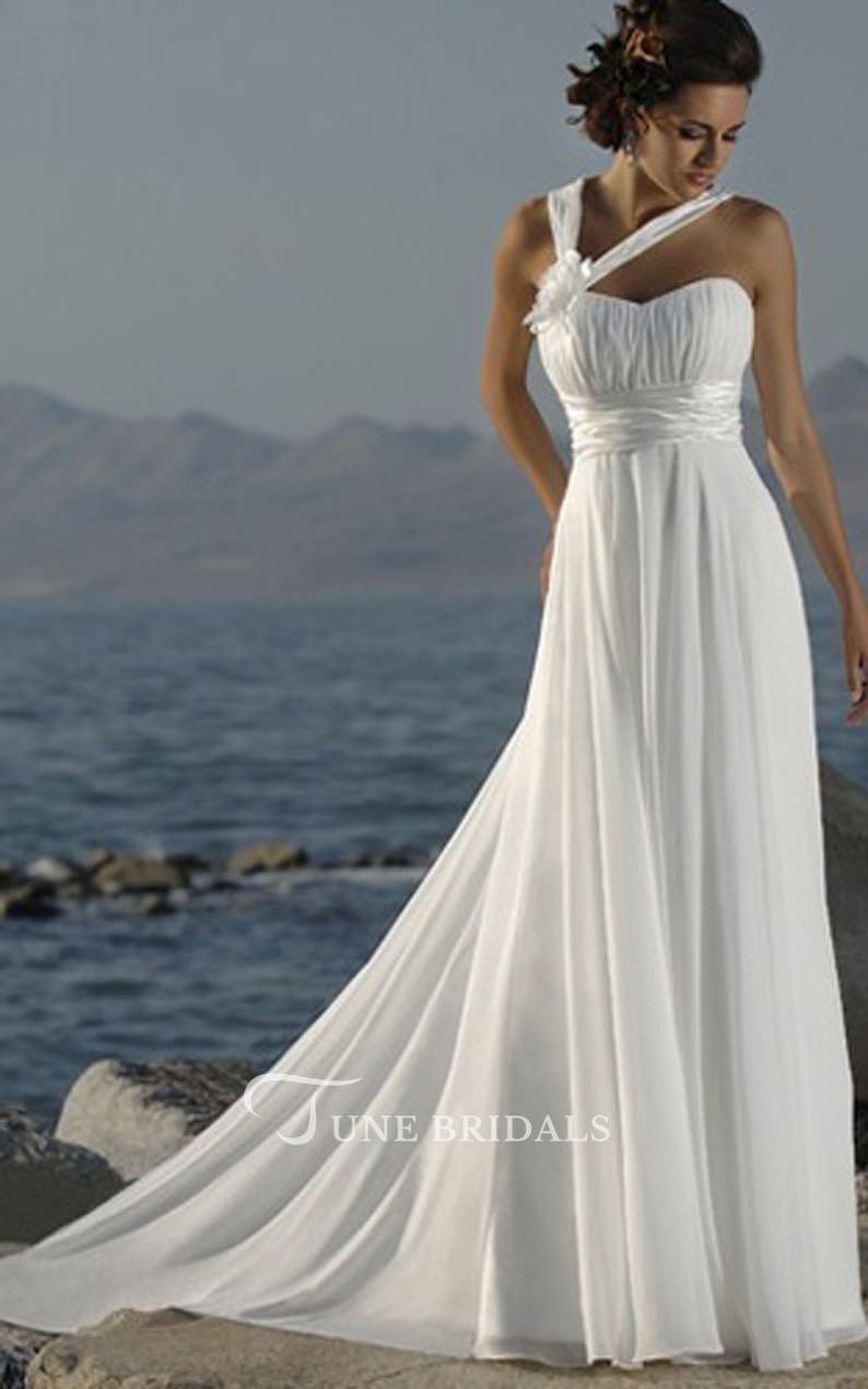 Asymmetric Straps Sweetheart Empire Chiffon Dress