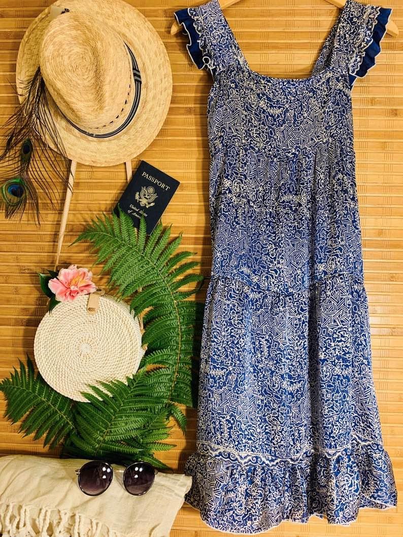 Silk Tiered Ruffle Dress by Bali Prema
