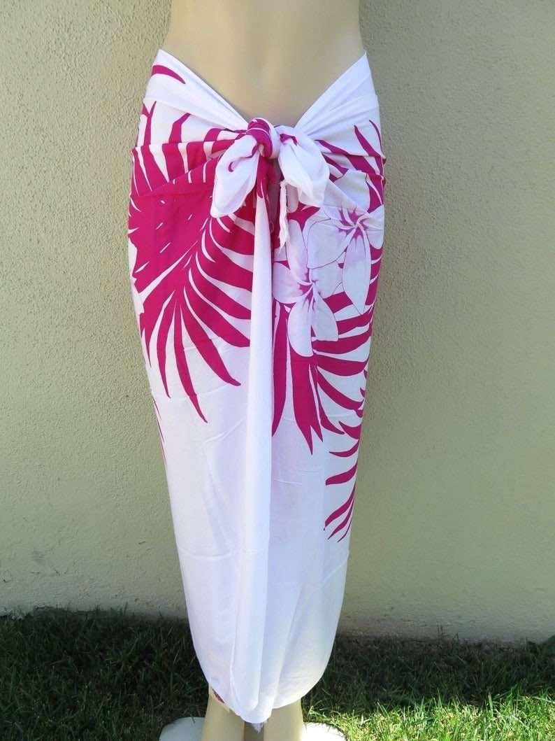 White Pink Plumeria Sarong Coverup by Laniakea Shop