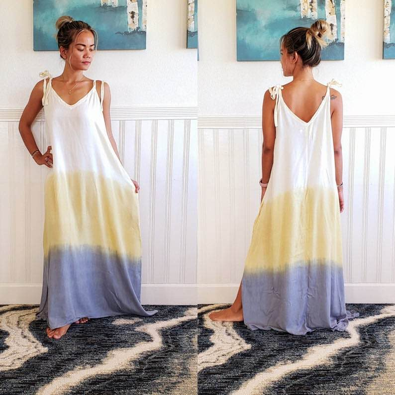 Long Boho Maxi-Gradient Dress by Primitive Vibes Hawaii