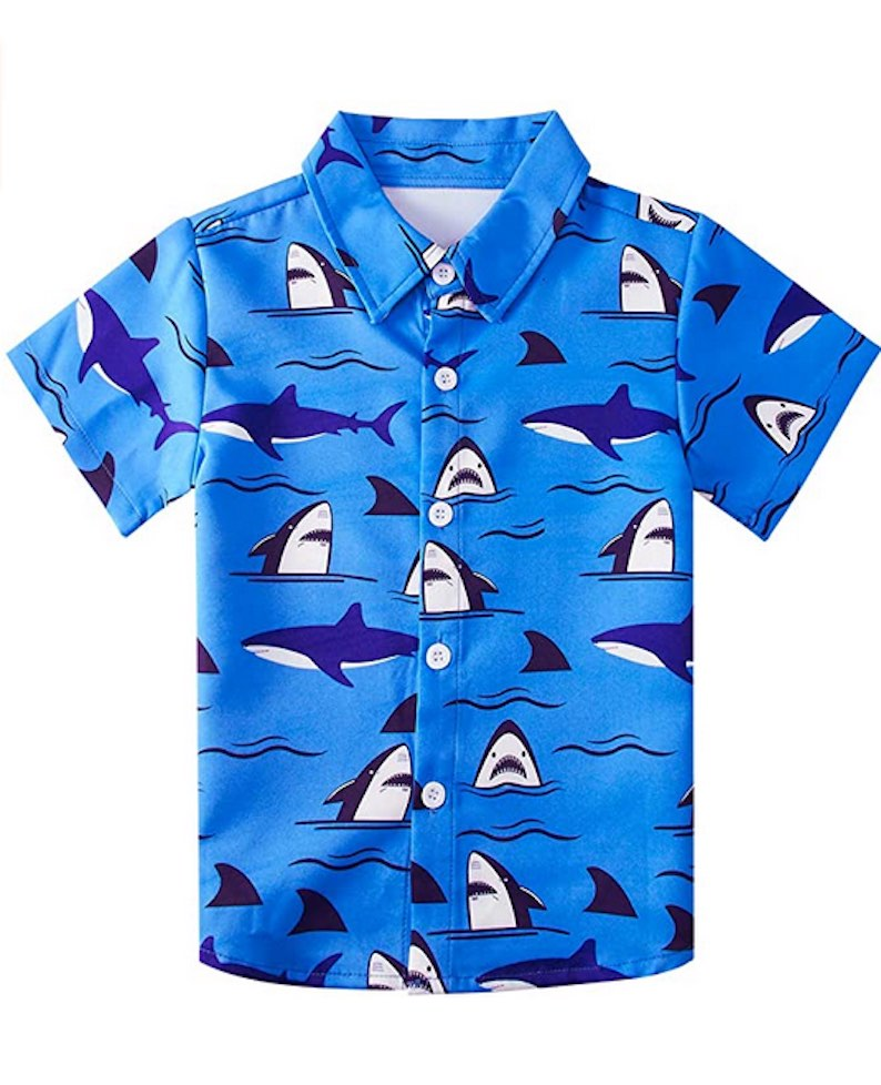 Boys Button Down Hawaiian Aloha Short Sleeve  Shirt