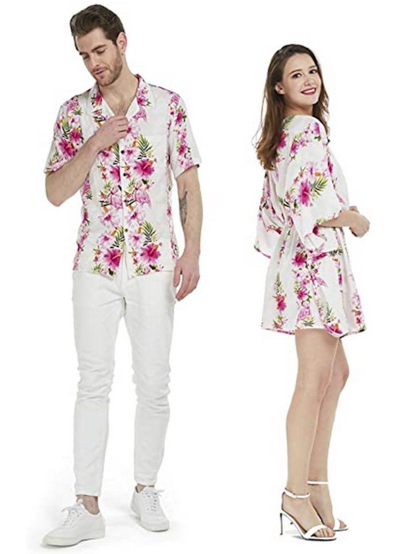 Couple Matching Hawaiian Luau Aloha Shirt
