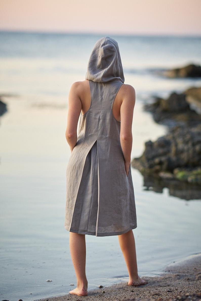 Linen Summer Dress, Hooded Tunic Dress by Visible Art
