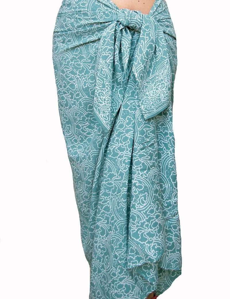 Sea Glass & White Sarong Beach Wrap Skirt by Pua Wear