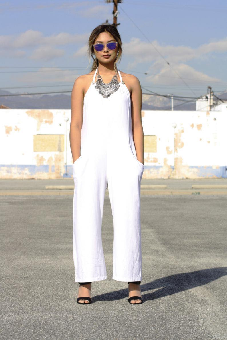 Solid White Overall Jumpsuit by Girlish Girl