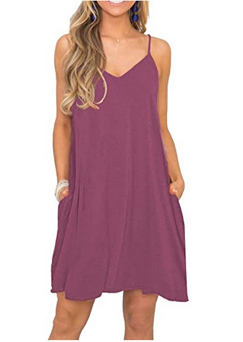 Summer Spaghetti Strap Casual Swing Tank Beach Coverup by Misfay