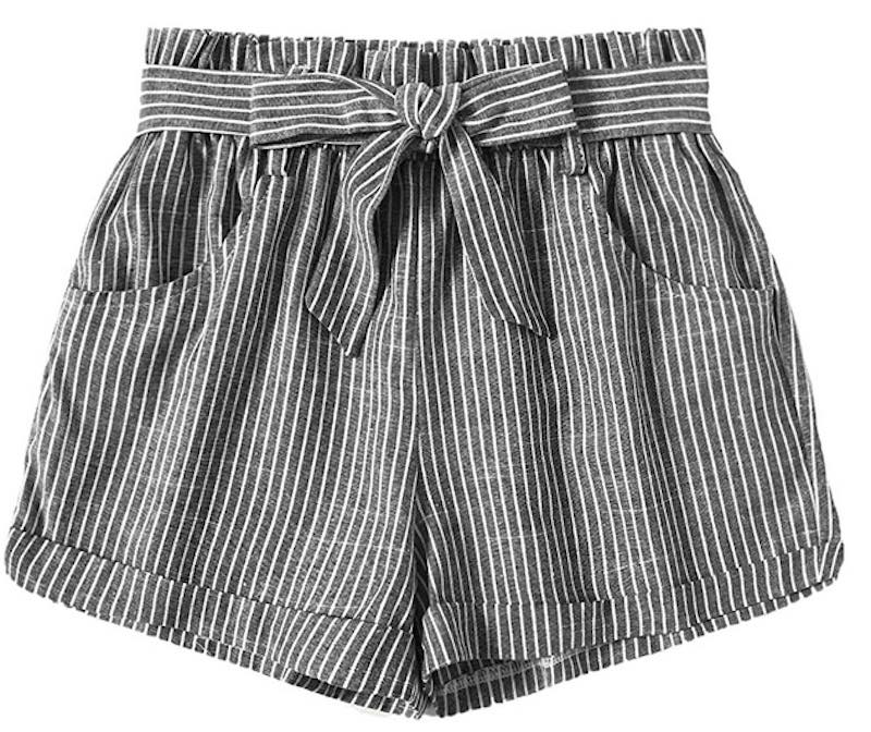 Casual Elastic Waist Striped Summer Beach Shorts by Sweaty Rocks