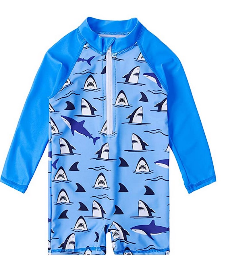 Toddler Boys Zipper Rash Guard Swimsuit