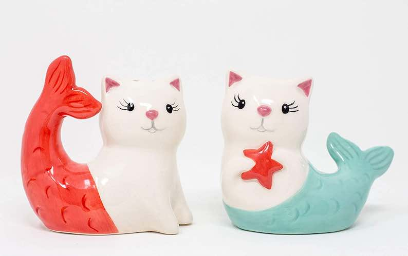 Purr-Maid Mermaid Cats Salt and Pepper Shakers