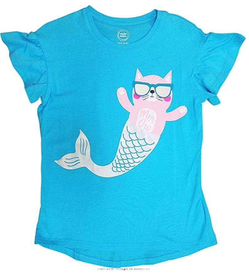 Mercat Wearing Flip Up Sunglasses Cat Mermaid Girls Shirt