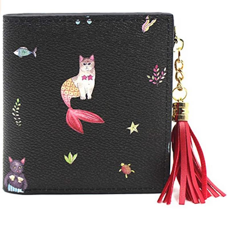 Mermaid Cat Card Holder Bi-fold Leather Wallet