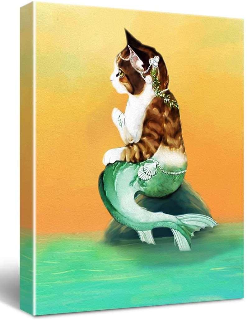 Cat Mermaid Wall Decor Canvas Print