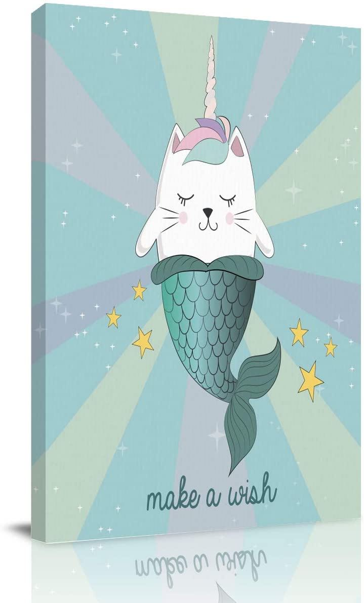 Unicorn Cat Mermaid Wall Art