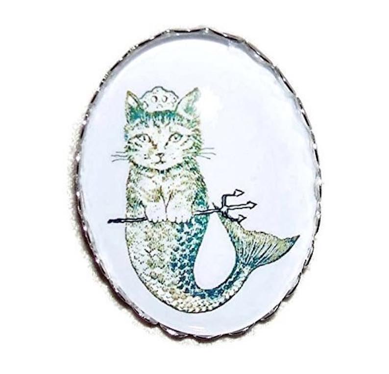 Mermaid Cat Mermaid Old-Fashion Brooch Pin